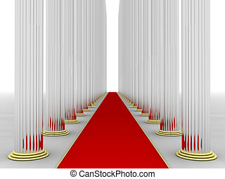 Columns - Illustration of columns with a red rug in the...