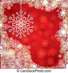 Red Christmas card with snowflake, vector illustration