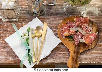 antipasto cold cut served with cheese
