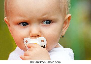 Portrait of Cute Baby - Portrait of cute baby in the garden.
