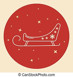 Santa s sleigh icon in thin line style