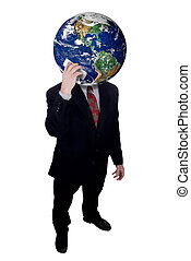 Businessman with Earth head holding cell phone