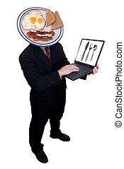 Businessman with breakfast head holding his laptop isolated...