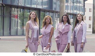 Portrait of four business women outdoors - Portrait of four...