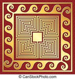 vector Traditional vintage gold Greek ornament, Meander -...