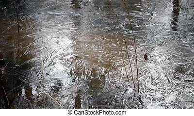 Close up ice with patterns in sunny day,