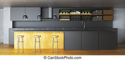 黑暗, 時髦, 內部, 廚房