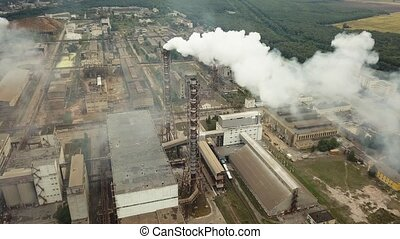 Factory smoke stack - Oil refinery, petrochemical or...