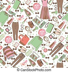 Vector of hand drawn fashion collection of clothes and accessories pattern illustration.
