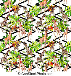 Exotic giraffe wild animal pattern in a watercolor style....