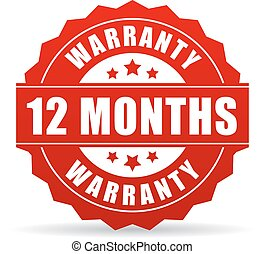 12 months warranty vector icon isolated on white background