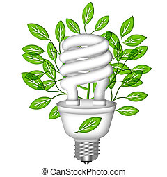 Energy Saving Eco Lightbulb with Green Leaves on White...