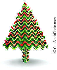 Abstract wave shape candy christmas tree