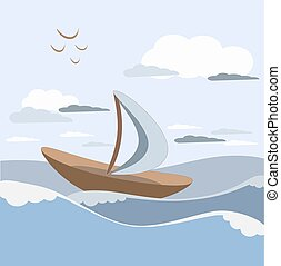 Sailboat sails on the waves with white sails with