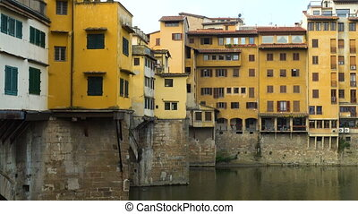 view of Arno river bridges at the Florence