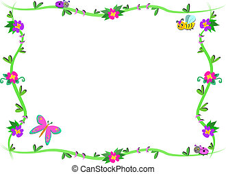 Frame of Plants, Flowers, and cute
