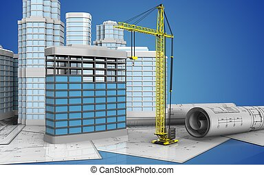 3d with urban scene - 3d illustration of building...