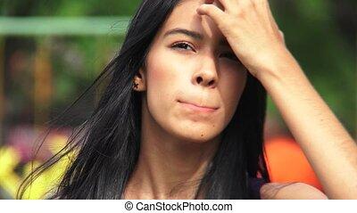 Female Teen With Eye Irritation