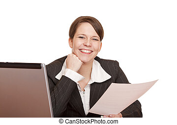 happy  business woman in office holding a contract