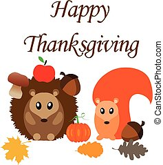 Happy Thanksgiving - vector happy thanksgiving with cute...