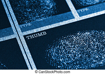 Thumb Fingerprint File - Concept image of a fingerprint file