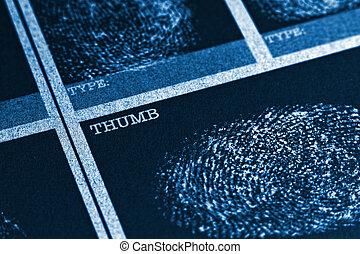 Thumb Fingerprint File - Concept image of a fingerprint file
