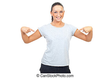 Young woman in blank gray t-shirt - Cute young woman wearing...