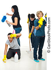 People teamwork work to cleaning house - Four people...