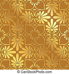 vector seamless gold floral ornament