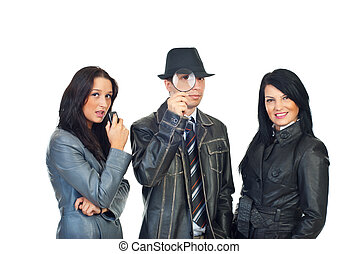 Detective man and women assistants - Detective man with...