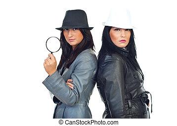 detectives, dos, belleza, mujeres