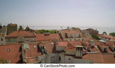 Roofs of Lisbon's oldest town houses. Portugal