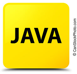 Java yellow square button - Java isolated on yellow square...
