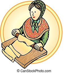 Impaste work - Old european woman doing pasta, traditional...