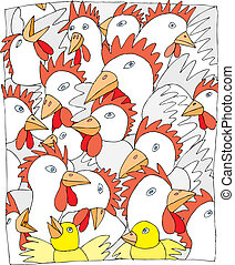 Chickens - Lot of chickens press together
