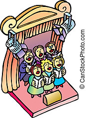 Choir - Classic choir singing into a theater stage