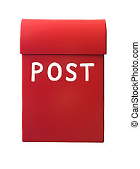 Red mailbox isolated on a white background