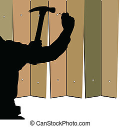 hammering nails into the fence vector illustration