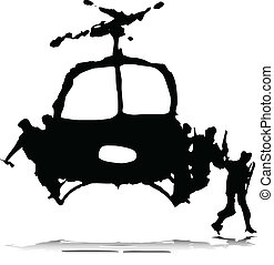 helicopter with soldier illustration
