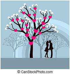 Lovers Kissing - Lovers kissing under a love tree