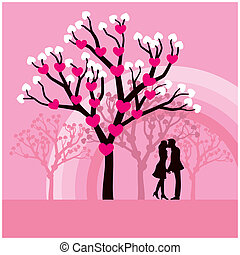 Kissing - Vector illustration of lovers kissing under a love...