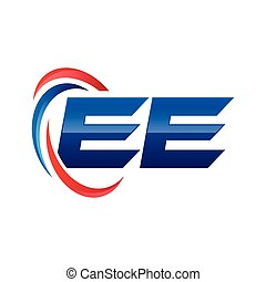 initial letter logo swoosh red blue AE to ZE - initial...