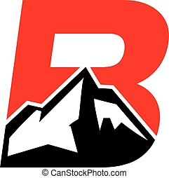 Mountain Logo inside B Initials easy editable with High...