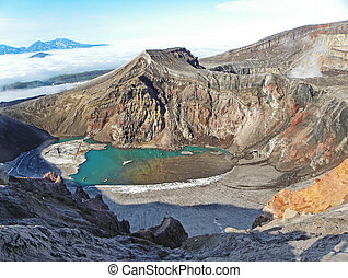 Lake in a vulcanic crater on Kamchatka