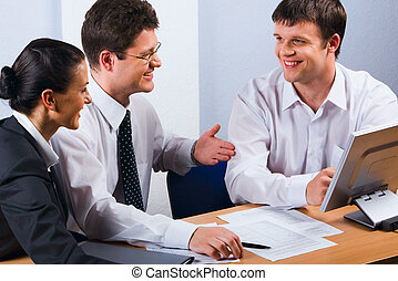 Conversation of business people - Business people talking at...