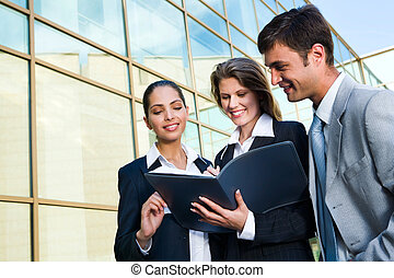Profitable business agreement - The business women signs the...