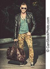 brutal mature man - Handsome brutal man in leather jacket...