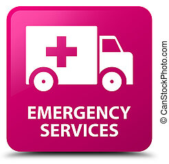 Emergency services pink square button - Emergency services...