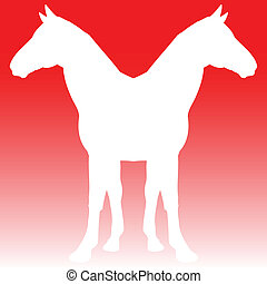 horse twins illustration