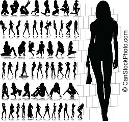 chaud, sexy, girl, vecteur, silhouette